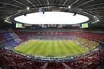 Pohled na fotbalový stadion v Mnichově během utkání ME Francie - Německo