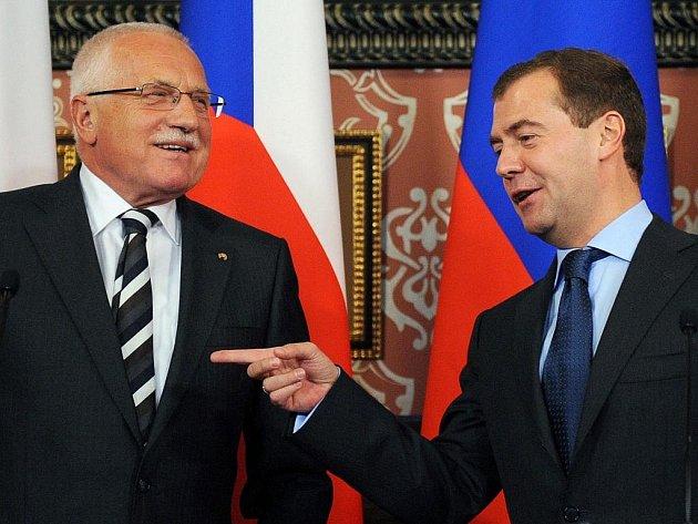 Václav Klaus a Dmitrij Medveděv