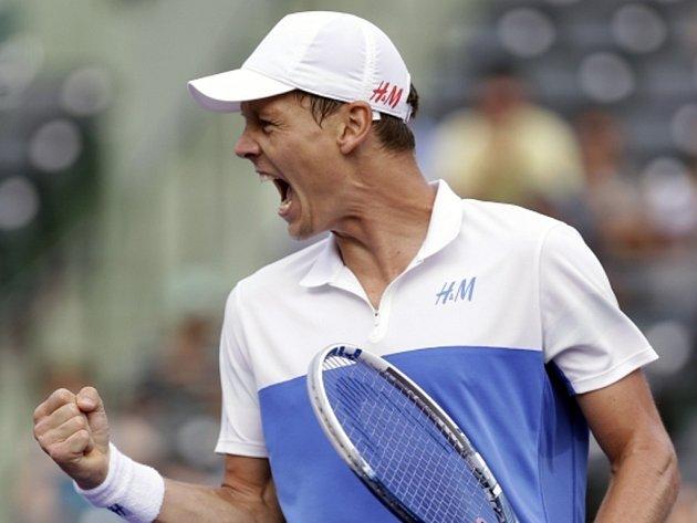 Paráda. Tomáš Berdych se na turnaji Masters v Miami raduje z postupu do semifinále.