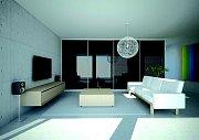 Vestavěná skříň v lesklém černém neprůhledném skle se může stát originální dominantou třeba i obývacího pokoje.
