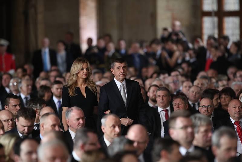Inaugurace Miloše Zemana. Andrej Babiš s manželkou.