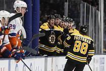 Hokejista Bostonu David Pastrňák (vpravo) se raduje z gólu v utkání na ledě New York Islanders.