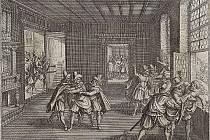 Třetí pražská defenestrace z roku 1618, jež se stala roznětkou třicetileté války, soudobá mědirytina z Theatrum Europaeum