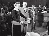 Milada Horáková hovoří během svého procesu.