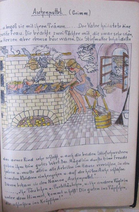 Ilustrované básně od Friederike Rudolph , učitelky z Brna, která zahynula v internačním táboře ve Svatobořicích a učila pamětnici Ingeborg Cäsarovo