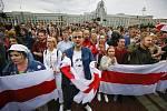 Demonstrace příznivců běloruské opozice na náměstí Nezávislosti v Minsku, 25. srpna 2020