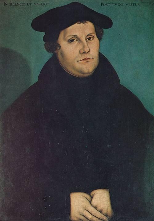Martin Luther na obraze Lucase Cranacha I. z roku 1529. Obraz se nachází v kostele Sv. Anny v Augsburgu