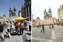 Zatímco za normálních okolností je Staroměstské náměstí v Praze plné turistů, v době covidu zeje prázdnotou
