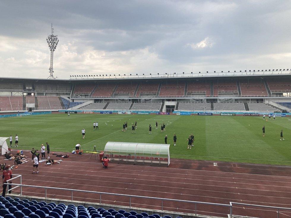 Trénink českých fotbalistů na Strahově před mistrovstvím Evropy.