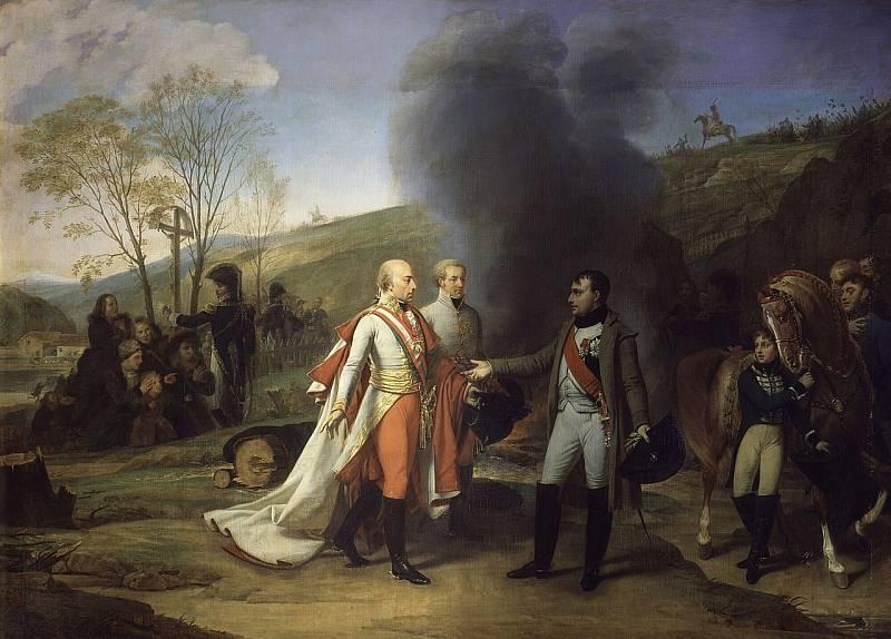 Napoleon Bonaparte se setkává s rakouským císařem Františkem, obraz Antoine-Jeana Grose