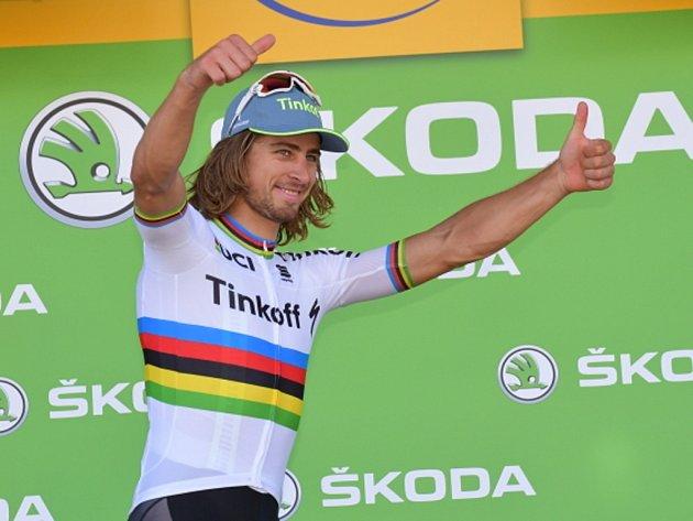 Peter Sagan se raduje z etapového vítězství na Tour de France.