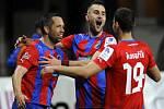 Fotbalisté Plzně (zleva) Pavel Horváth, Radim Řezník a Jan Kovařík se radují z gólu proti Příbrami.
