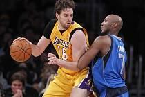 Opora LA Lakers Pau Gasol (vlevo).
