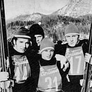 Českoslovenští skokani na lyžích obsadili 25. ledna 1970 první čtyři místa ve Velké ceně národů v Cortině d' Ampezzo. Na sn. zleva vítěz Jiří Raška, třetí Josef Matouš, druhý Rudolf Höhnl, a František Rydval, který skončil čtvrtý