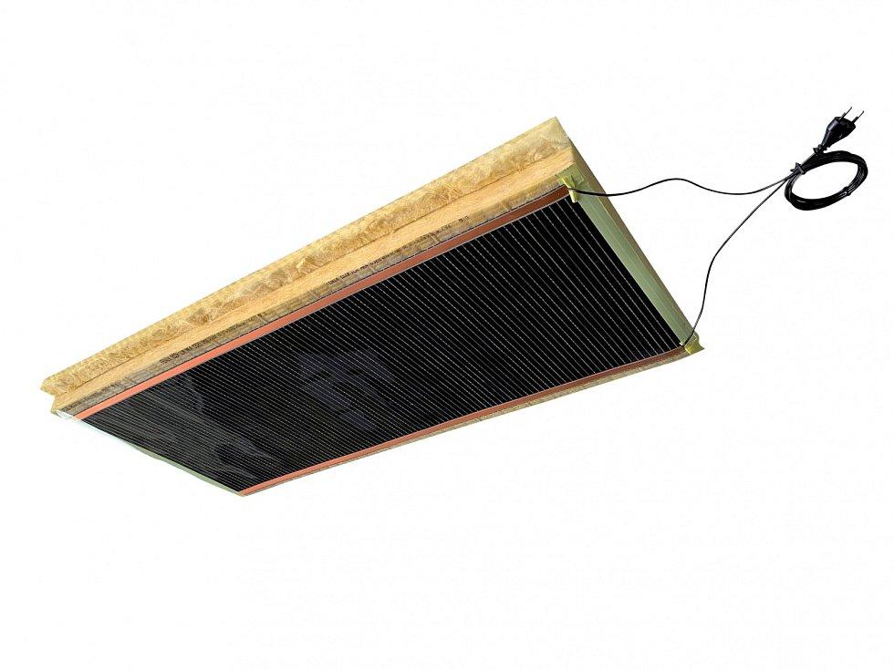 Novinkou  ve vytápění jsou  stropní panely, zde například topné moduly stropního vytápění  Fenix Ecofilm MH.