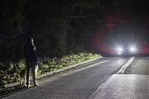 Chodec na silnici ve tmě