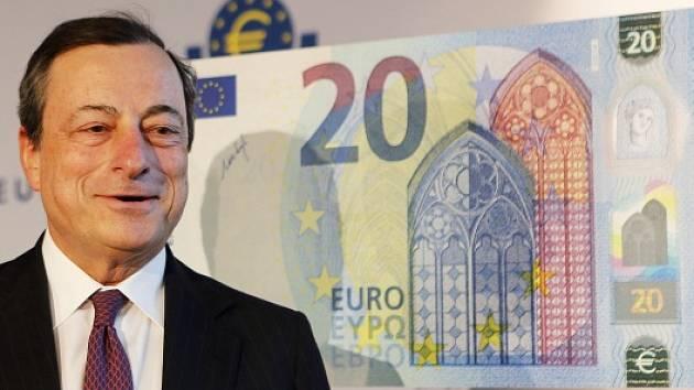Prezident Evropské centrální banky (ECB) Mario Draghi představil novou eurobankovku o nominální hodnotě 20 eur s lepšími ochrannými prvky proti padělání.