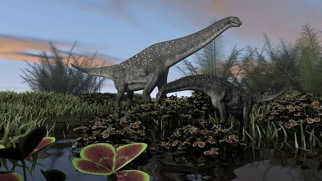 Zástupci podskupiny titanosaurů. Umělecká ilustrace
