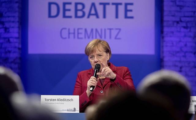 Angela Merkelová v Chemnitzu