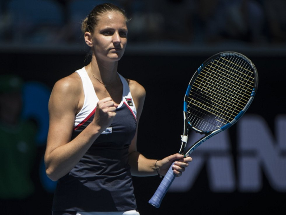 Karolína Plíšková se raduje z postupu na Australian Open.