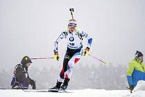 Závody SP v biatlonu, závod s hromadným startem 12,5 km ženy, 12. ledna 2020 v Oberhofu. Markéta Davidová z ČR.
