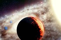 Umělecká představa planetárního systému kolem jedné z nejstarších hvězd galaxie, oranžového trpaslíka jménem TOI-561 vzdáleného pouhých 280 světelných let