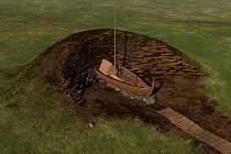 Vizualizace objevu na nalezišti v okolí mohyly Jell v Norsku