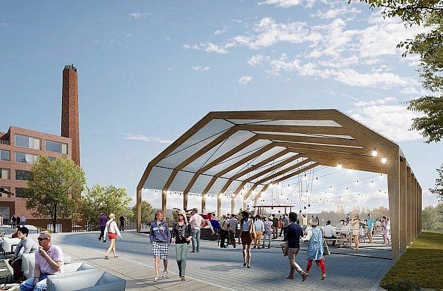 Vizualizace multifunkční haly vbudoucím rezidenčním projektu