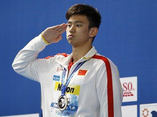 Jeden z čínských plavců Ning Ce-Tchao