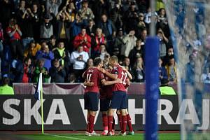Utkání skupiny E kvalifikace mistrovství světa ve fotbale: Česko - Bělorusko, 2. září 2021 V Ostravě. Český tým se raduje gólu.