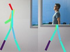 Technologie RF-Pose detekuje a znázorní pohyb člověka za zdí.