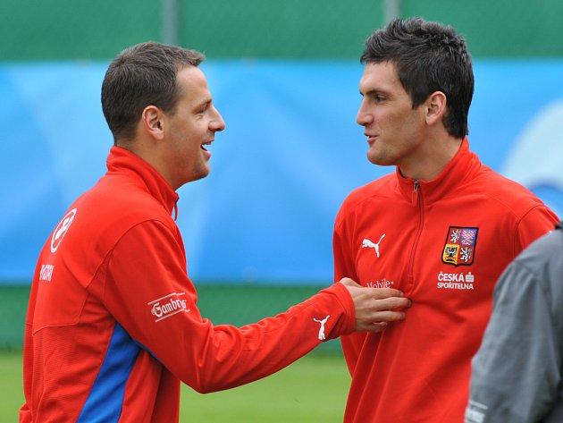 Marek Matějovský (vlevo) s Martinem Feninem na tréninku reprezentace