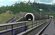 Vizualizace železničního tunelu na trati mezi pražským Smíchovem a Berounem