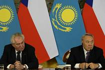 Miloš Zeman a kazašský prezident Nazarbajev.