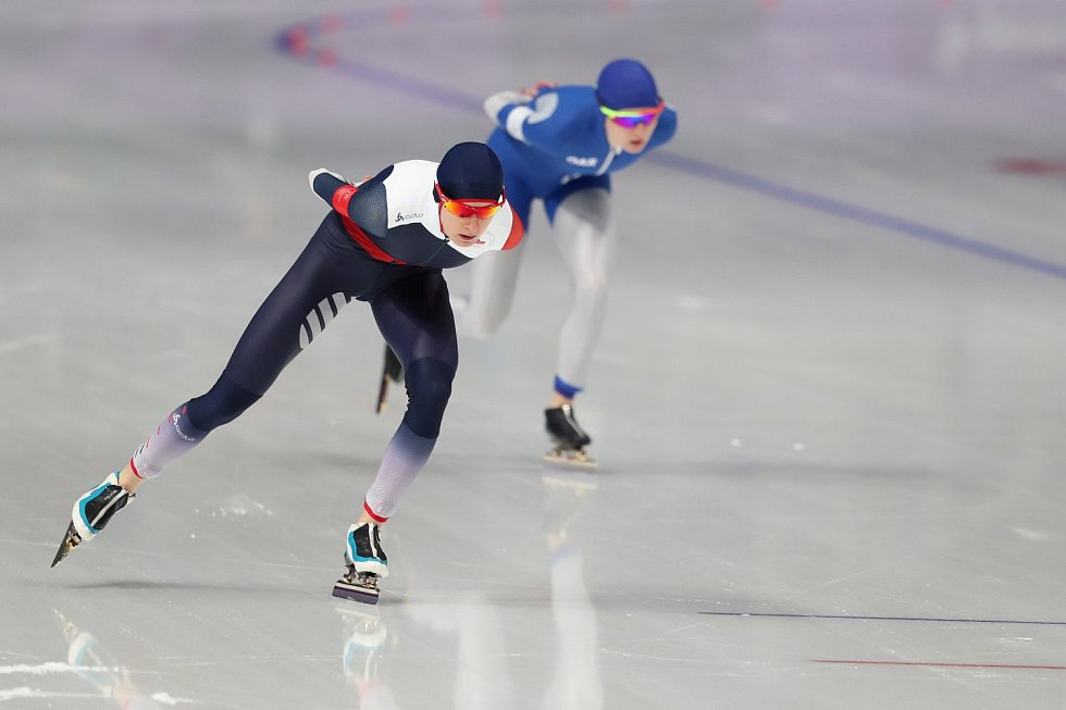 Martina Sáblíková si jede pro medaili.