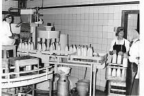 Stáčírna mléka a její zaměstnanci na počátku devadesátých let.