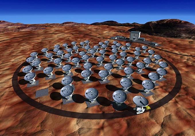Vizualizace Atakamské velké milimetrové anténní soustavy (ALMA).
