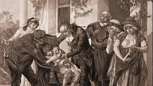Litografie zachycující očkování osmiletého Jamese Phippse lékařem Edwardem Jennerem. Dílo Gastona Mélinguea asi z roku 1894