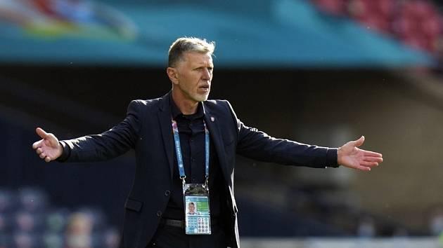 Trenér Jaroslav Šilhavý při utkání s Chorvatskem.