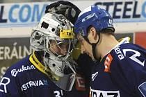 Hokejisté Vítkovic Filip Šindelář (vlevo) a Petr Punčochář.