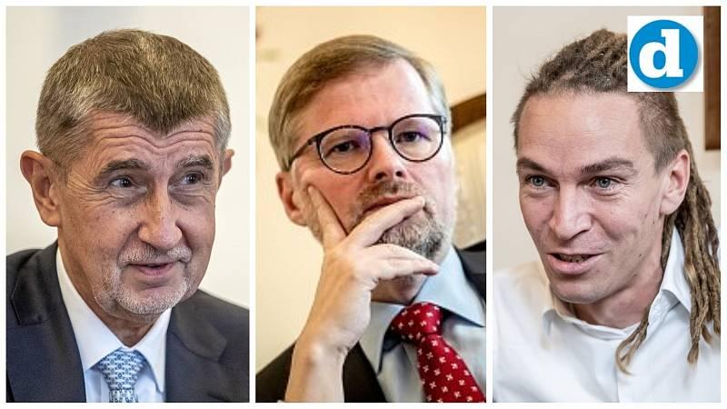 Kandidáti na premiéra (zleva): Andrej Babiš, Petr Fiala, Ivan Bartoš.