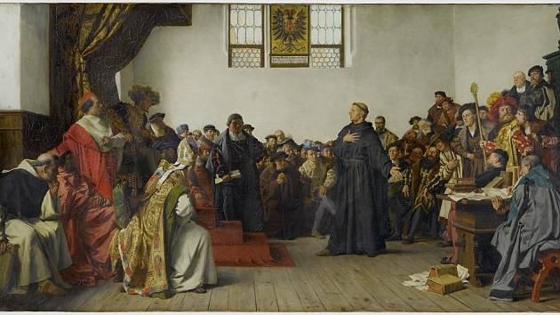 Martin Luther na Wormském sněmu v roce 1521, obraz Antona von Wernera z roku 1877 (zaujme podobnost s Brožíkovým plátnem zachycujícím Jana Husa na koncilu kostnickém). Lutherovy myšlenky zažehly protestantské hnutí