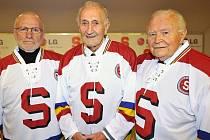 Sparťanské legendy Miroslav Kuneš (vlevo), Vladimír Zábrodský a Karel Gut,