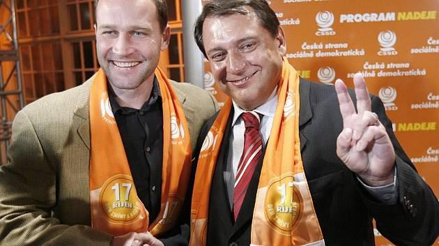 Jiří Paroubek spolu s hokejistou Jiřím Šlégrem