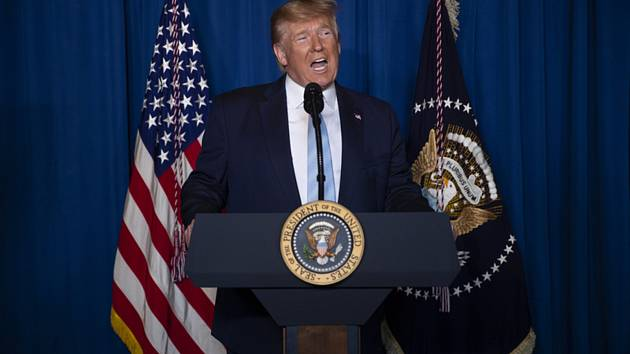 Americký prezident Donald Trump na tiskové konferenci k Íránu 3. ledna 2020.