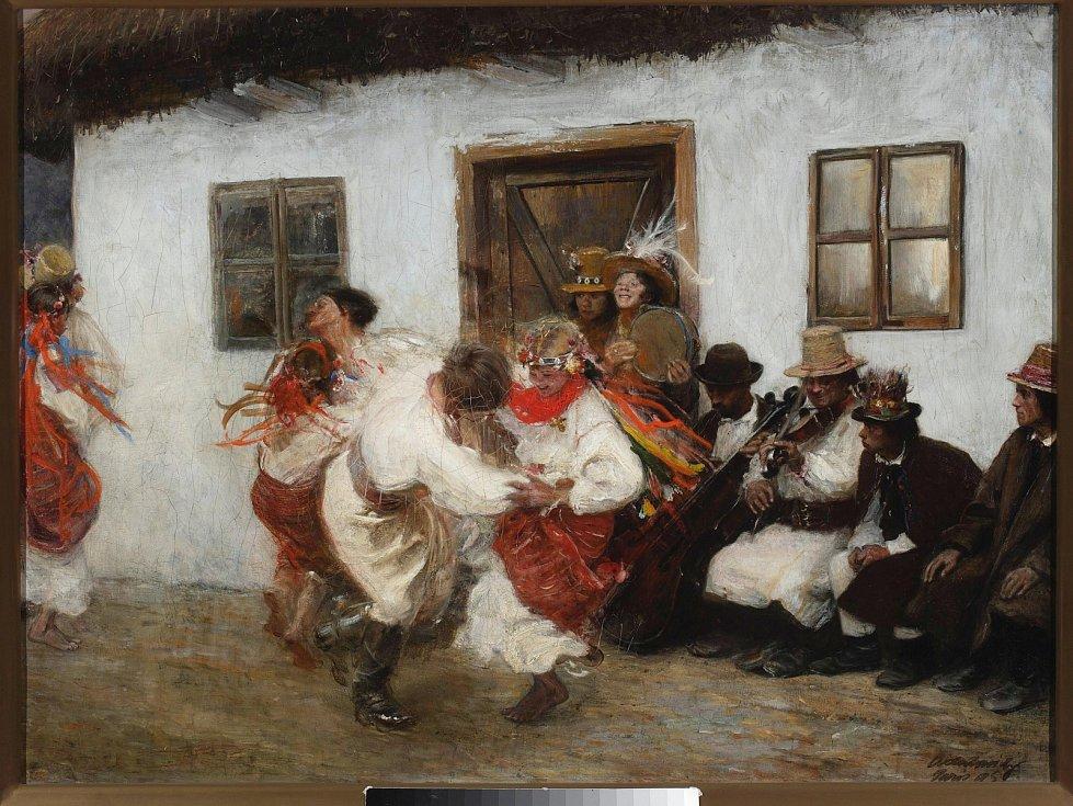 Lidový tanec kolomyjka na obraze Teodora Axentowicze z roku 1895.