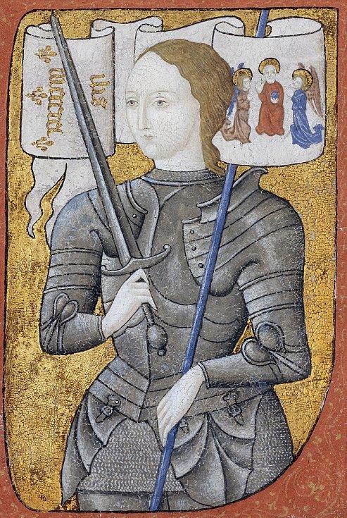 Jana z Arku v rytířské zbroji na dobové miniatuře (za zmínku stojí dlouhé vlasy)