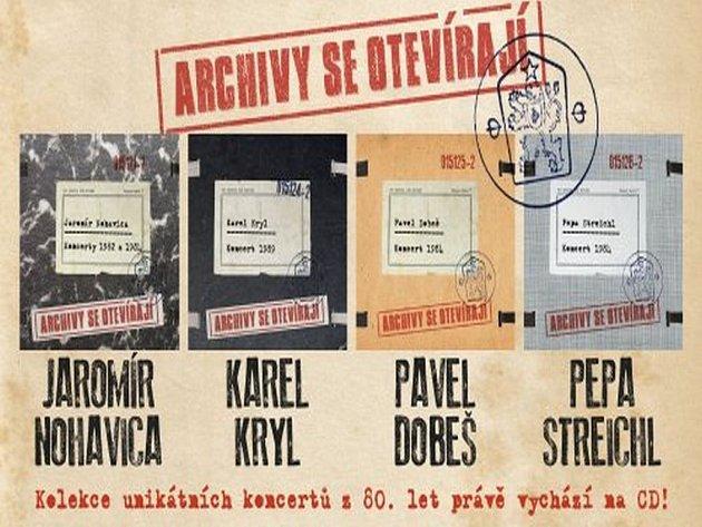Pod souhrnným názvem Archivy se otevírají právě vychází kolekce unikátních koncertů Jaromíra Nohavici, Karla Kryla, Pavla Dobeše a Pepy Streichla. Vydává EMI Music.