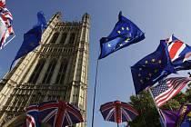 Demonstranti s deštníky v britských barvách a s vlajkami EU a USA před budovou parlamentu v Londýně 22. října 2019