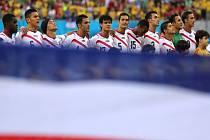 Fotbalisté Kostariky před zápasem s Řeckem.
